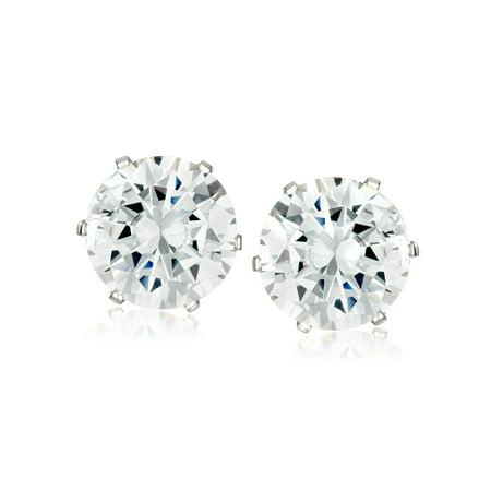 Women's Prong Set Cubic Zirconia Stud Stainless Steel Earrings (8mm) Cubic Zirconia Stainless Steel Earrings