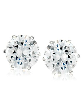 Coastal Jewelry Prong Set Cubic Zirconia Stud Stainless Steel Earrings