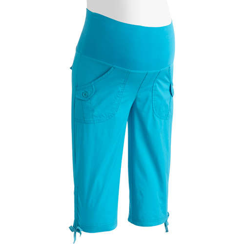 Oh! Mamma Maternity Demi-Panel Casual Woven Stretch Capri's with Drawcords at Hem