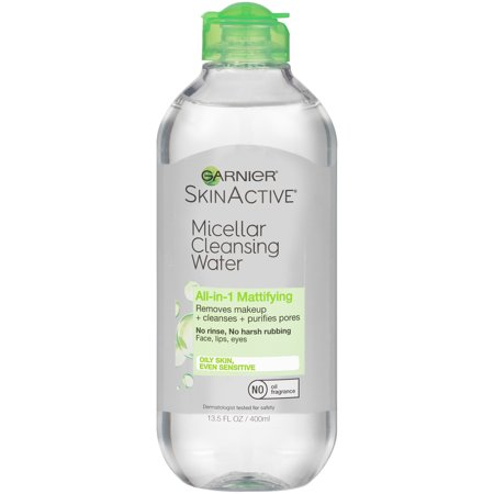 Garnier SkinActive Micellar Cleansing Water for Oily Skin, 13.5 fl. oz. Essential Oils Makeup Remover