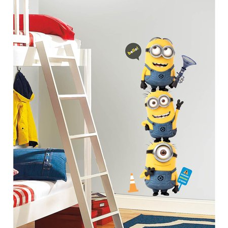 Despicable me 2 minions giant peel and stick giant wall for Peel and stick wallpaper walmart