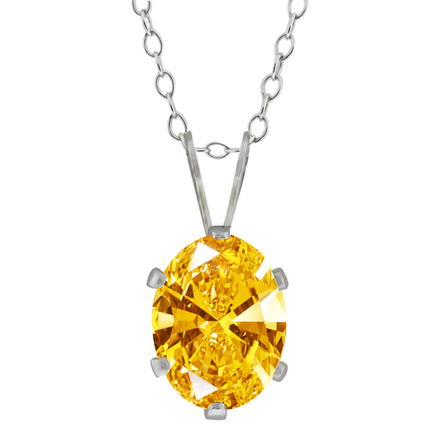 1.21 Ct Golden Yellow 925 Sterling Silver Pendant Made With Swarovski Zirconia