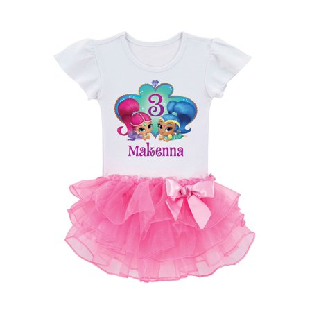 Personalized Shimmer and Shine Birthday Wish Toddler Tutu Tee In Sizes: 2t, 3t, 4t,