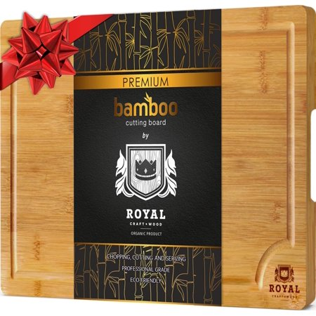 Bamboo Cutting Board for Kitchen - Best for Chopping Meat and Vegetables - Small, 10 x 15 inches by Royal Craft (Best Cutting Board For Cooked Meat)