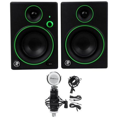 2 mackie cr4bt 4 studio monitors computer speakers w bluetooth condenser mic. Black Bedroom Furniture Sets. Home Design Ideas