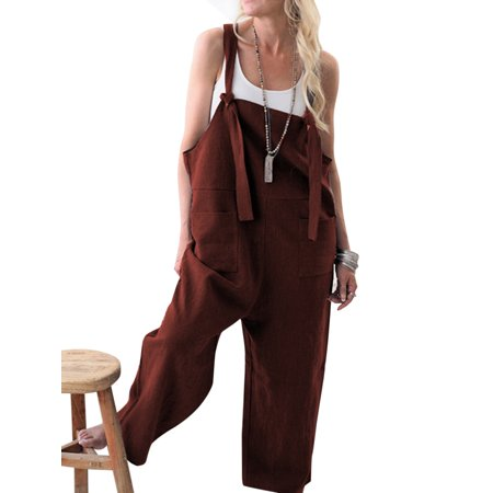 Jumpsuit Pants for Women Casual Linen Oversized Loose Straps Wide Leg Harem Trousers Dungarees Overalls Rompers Playsuit