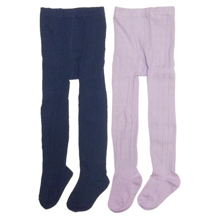 Wrapables® Navy and Thick Winter Cotton Ribbed Tights for Girls (Set of 2), 2-3 Years