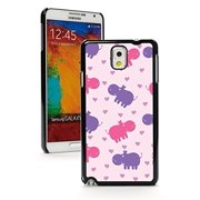 Samsung Galaxy Note 4 Hard Back Case Cover Pink Purple Happy Hippos Pattern (Black)