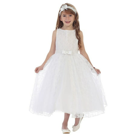 b46a680a7677 Chic Baby - Chic Baby Girls White Lace Overlay Bow Junior Bridesmaid ...