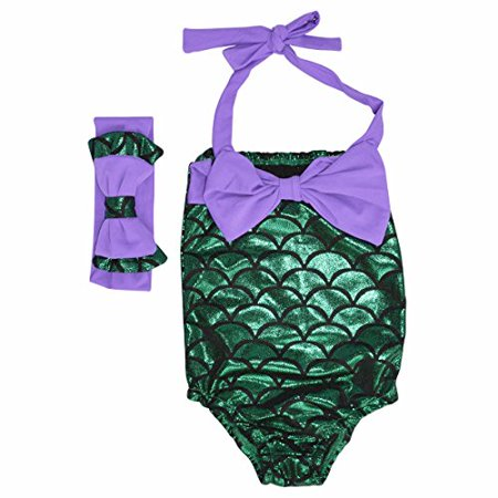 Girls Mermaid Scale Bathing Suit and Headband (Purple, 5/L)