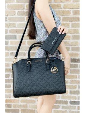 468545fb72c4 Product Image Michael Kors Ciara Saffiano Large Top Zip Satchel Trifold  Wallet SET Black