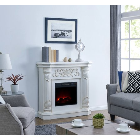 Bold Flame 40 inch Electric Fireplace in White ()