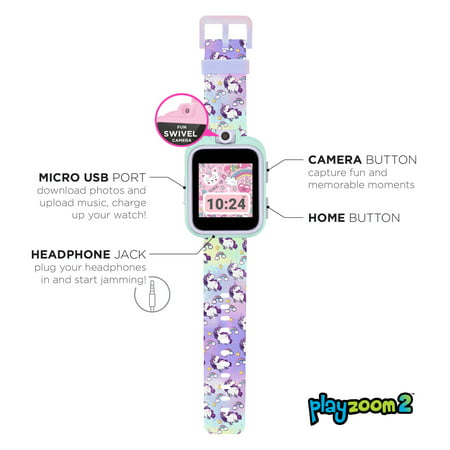 PlayZoom 2 smart watch for kids - touch screen, tie dye unicorn print band