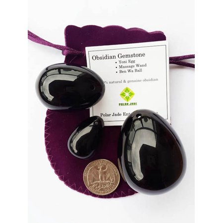 Polar Jade Obsidian Gemstone Yoni Eggs 3-PCS Set, Drilled with Unwaxed String & Instructions, for Strengthening Yoni Pelvic Floor Muscles, L, M and S 3 Sizes, 100% Genuine