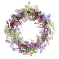 Colorful Butterflies Twig Wreath, Spring Home Dcor, 12 Diameter