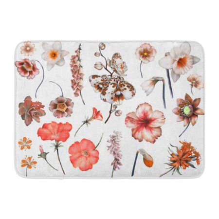 GODPOK Tropical Collection with Plants Leaf Flowers Botanical White Watercolor Nature Floral Exotic with Orchid Rug Doormat Bath Mat 23.6x15.7 inch ()