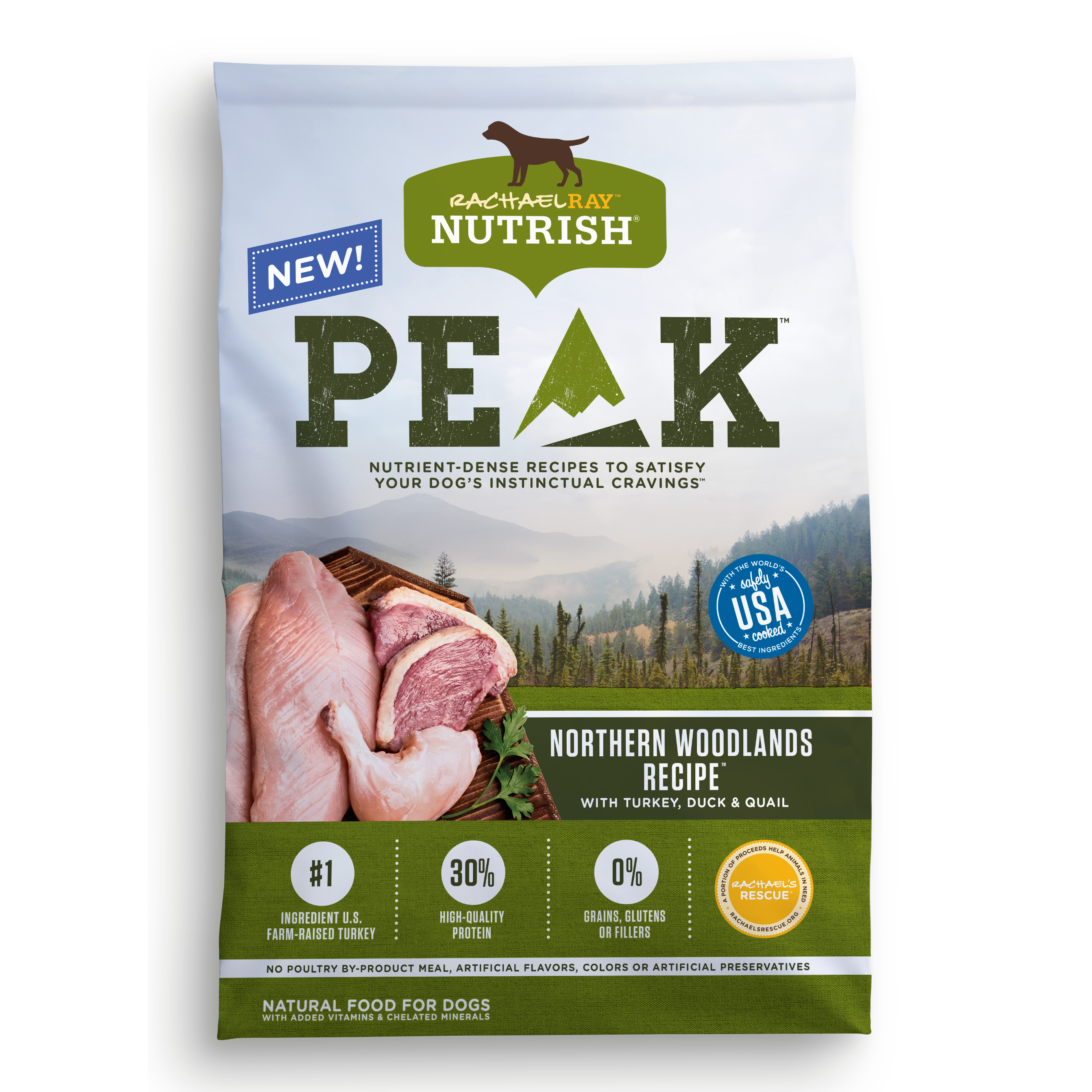 Rachael Ray Nutrish PEAK Natural Dry Dog Food, Grain Free, Northern Woodlands Recipe with Turkey, Duck & Quail, 4 lbs