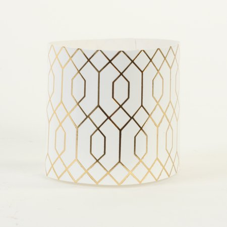 Koyal Wholesale Disposable Napkin Rings , Gold Geometric Hexagon Pattern In Bulk 100-Pack, Thick Paper Napkin Ring Bands