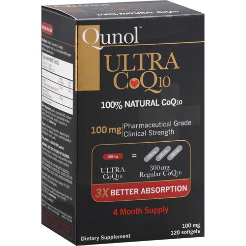 Qunol Ultra 100% Natural COQ10 100mg Softgels, 120ct