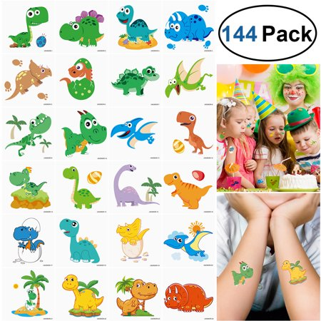 Girly Star Tattoos (UNOMOR 144 Pcs Temporary Tattoos Dinosaur Stickers Party Supplies Party Favors for Boys)