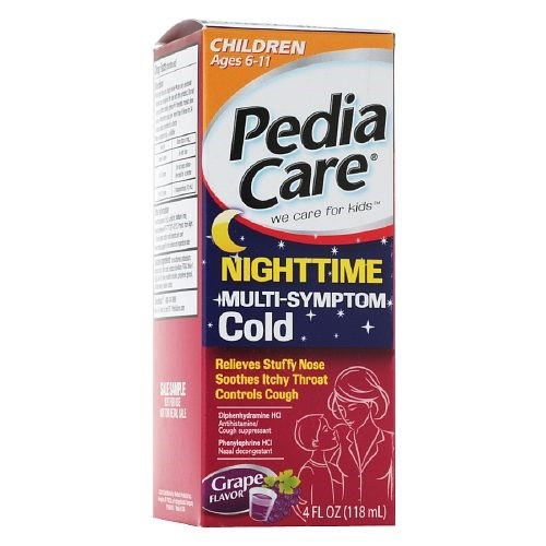 PediaCare Kid's Nighttime Multi-Symtom Cold Liquid, Grape, 4 Fl Oz