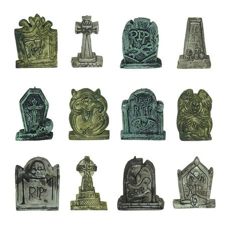 Set of 12 Miniature Tombstones for Halloween Decorations