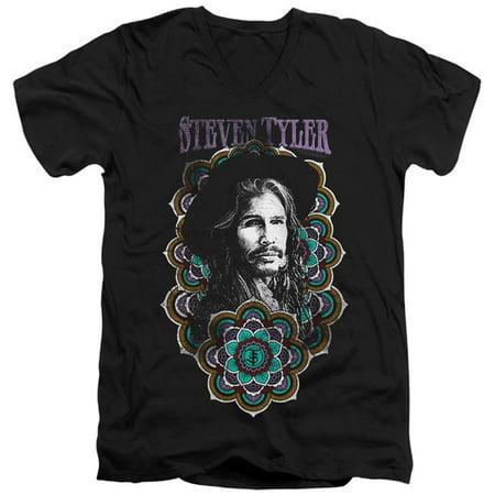 Steven Tyler Shirt (Trevco Sportswear BAND407-AV-3 Steven Tyler Mandala-Short Sleeve Adult 30-1 V-Neck T-Shirt, Black -)