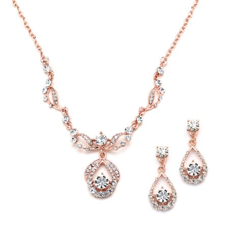 Mariell 14K Rose Gold Vintage Crystal Necklace and Earrings Jewelry Set for Prom, Bridal and Bridesmaids Akoya Gold Jewelry Set