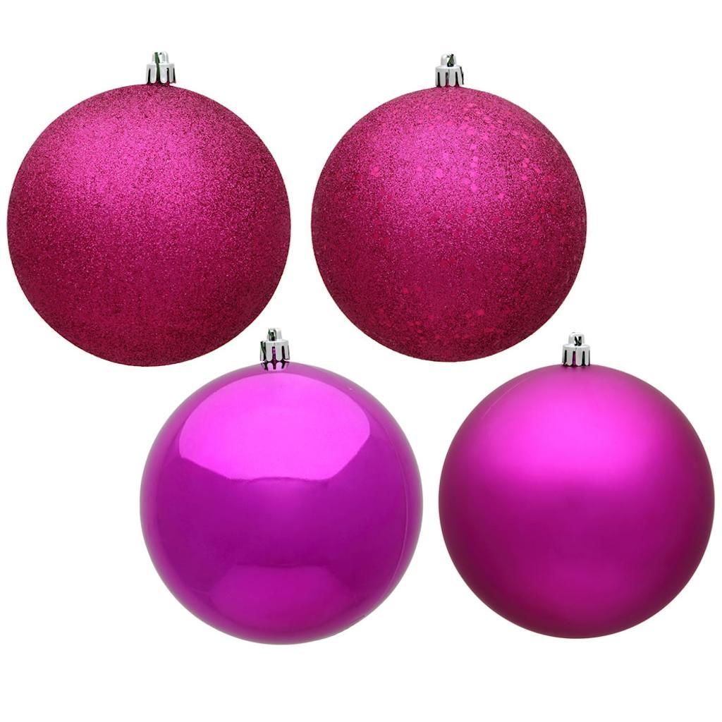 "Vickerman 485330 - 6"" Fuchsia 4-Finish Ball Christmas Christmas Tree Ornament (Set of 4) (N591570DA)"