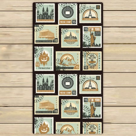 YKCG Old Stamps Collection Postage for Sale Styled Vintage Blue Hand Towel  Beach Towels Bath Shower Towel Bath Wrap For Home Outdoor Travel Use 30x56