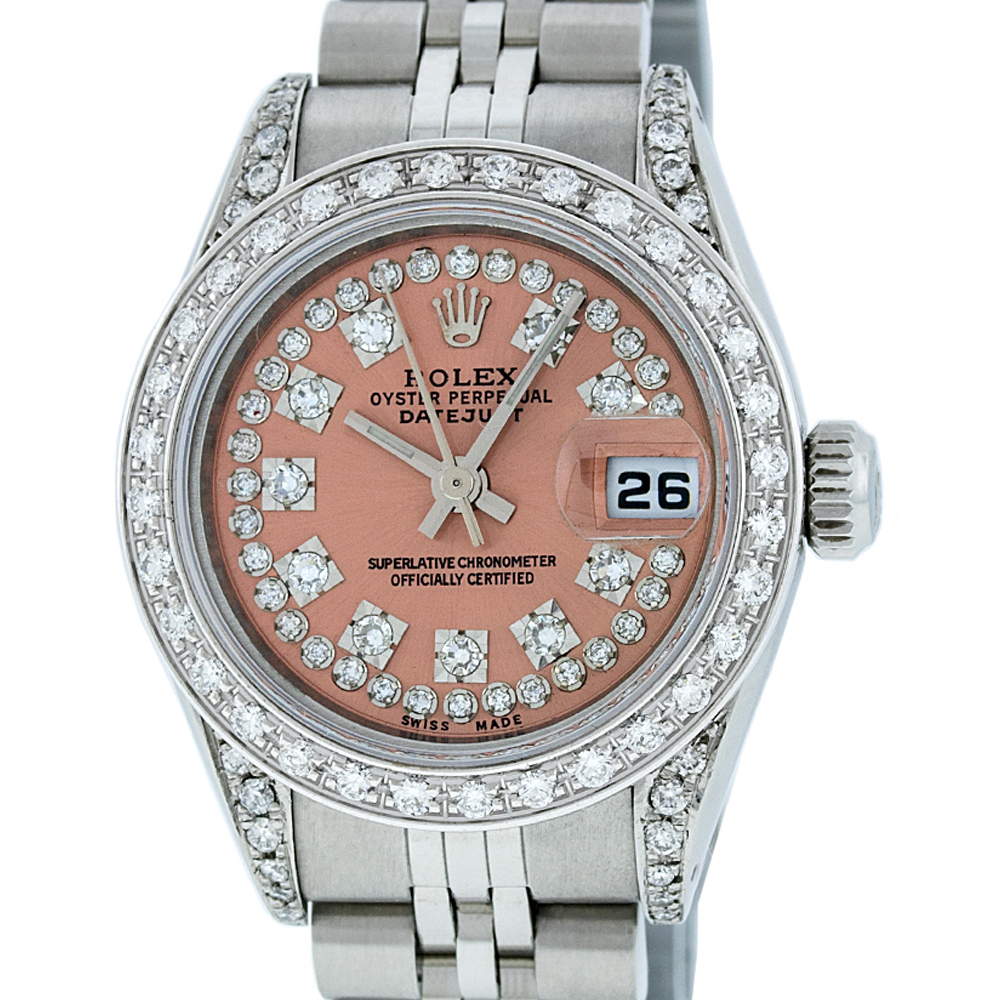 Used Rolex Ladies Datejust Steel & 18K White Gold Salmon String Diamond Watch Jubilee Quickset by