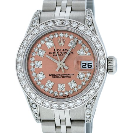 18k Ladies Watch (Pre-Owned Rolex Ladies Datejust Steel & 18K White Gold Salmon String Diamond Watch Jubilee Quickset )