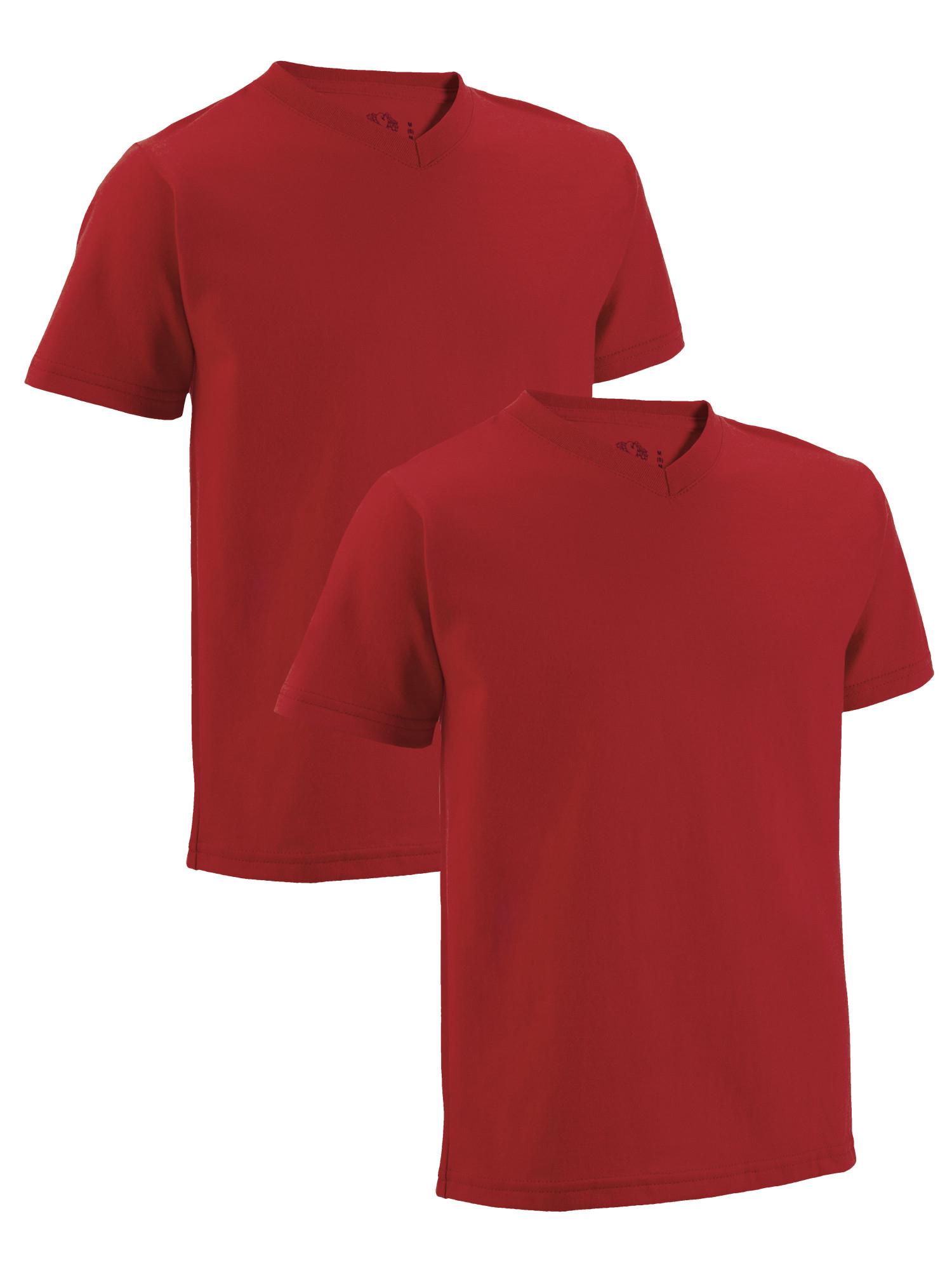 Fruit of the Loom Boys' Short Sleeve V-Neck T-Shirts, 2 Pack