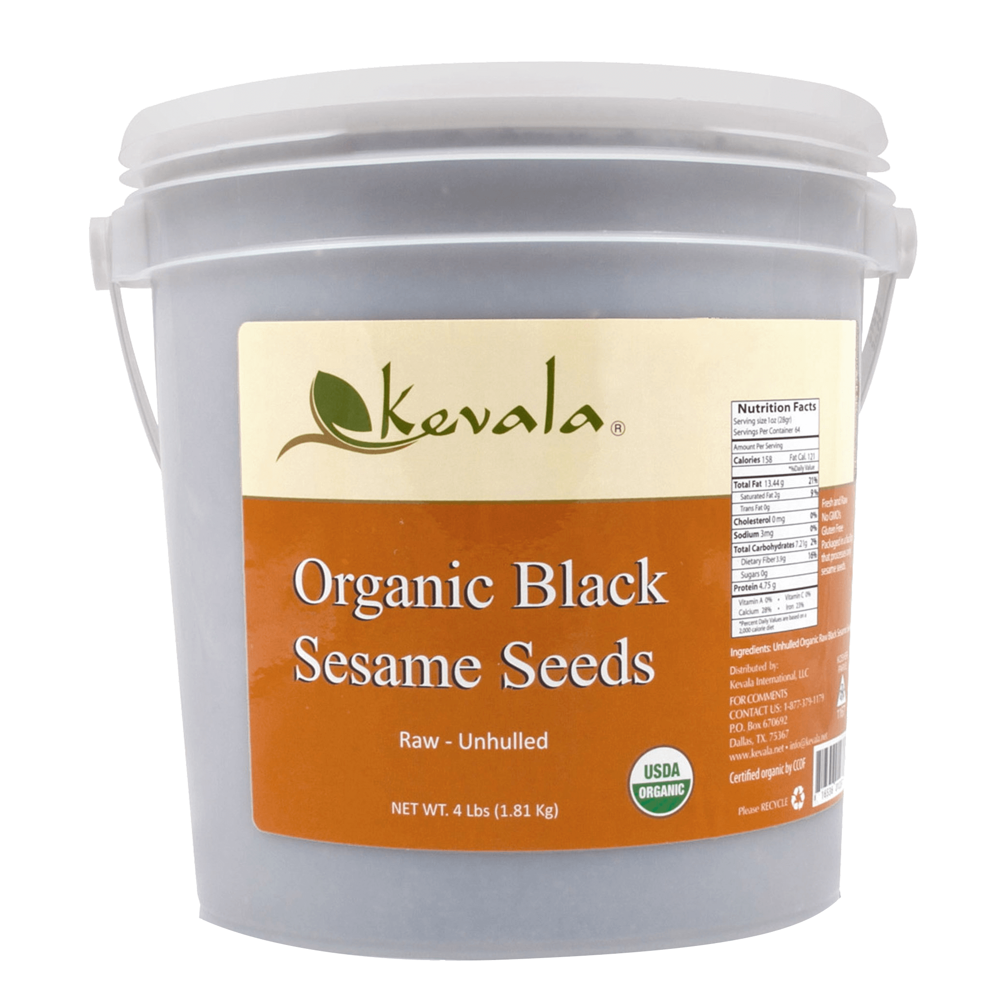 Kevala Organic Raw Black Sesame Seeds (Unhulled) 4 lb