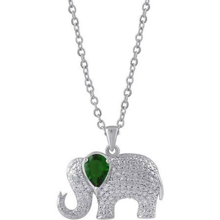 White Diamond Fashion Pendant - Diamond Accent and Emerald Gemstone Silver-Tone Elephant Fashion Pendant, 18