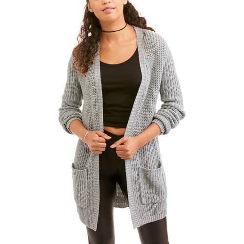 Generic No Boundaries Juniors' Back Lace - Up Pocket Front Cardigan