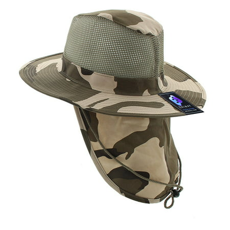 Enimay Outdoor Hiking Fishing Snap Brim Hat With Neck Flap Dessert Medium Broad Brimmed Hat