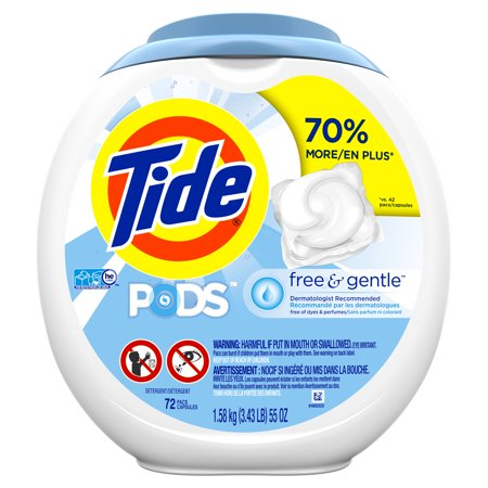 Tide PODS Free & Gentle, Liquid Laundry Detergent Pacs, 72 count