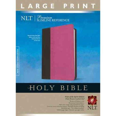 Holy Bible  New Living Translation  Pink Brown  Leatherlike  Premium Slimline Reference  Fruit Of The Spirit Edition