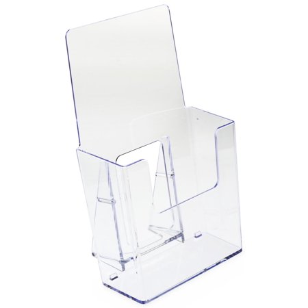 "Set of 60, Clear Plastic Brochure Holders for 4""w Literature, Slant-Back Tabletop Leaflet Dispensers with Low-Cut Front Panel (AMZBRSD40)"