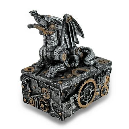- Silver / Gold Enamel Steampunk Dragon Mini Trinket Box
