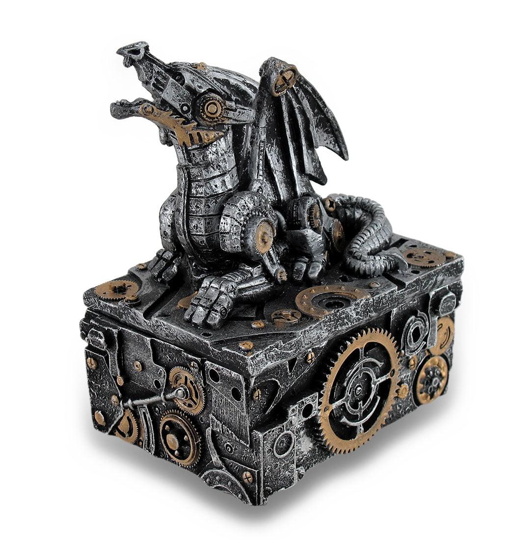 Silver / Gold Enamel Steampunk Dragon Mini Trinket Box