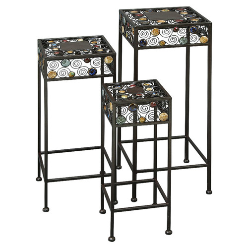 Woodland Imports 3 Piece Square Plant Stand Set