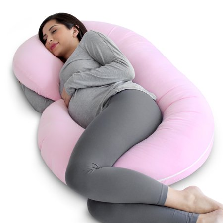 Terrific Pharmedoc Pregnancy Pillow With Soft Jersey Cover C Shaped Body Pillow For Pregnant Women Light Pink Uwap Interior Chair Design Uwaporg