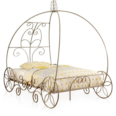 Furniture of America Yazmina Princess Carriage Champagne Bed, Multiple Sizes - Size Of America
