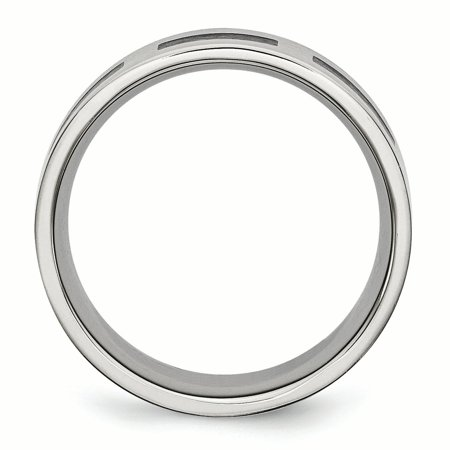 Stainless Steel Black Rubber Flat 8mm Brushed Band Ring 8 Size - image 3 de 7