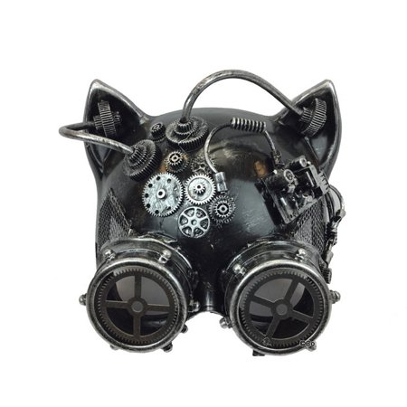 Halloween Steampunk Cosplay Cat with Goggles Face Mask, Silver, One Size 7in - Halloween Cat Face Paint Tutorial