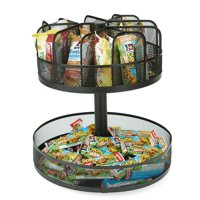 Mind Reader 2 Tier Lazy Susan Granola Bar and Snack Organizer,Home, Office, Breakroom, Black Metal Mesh