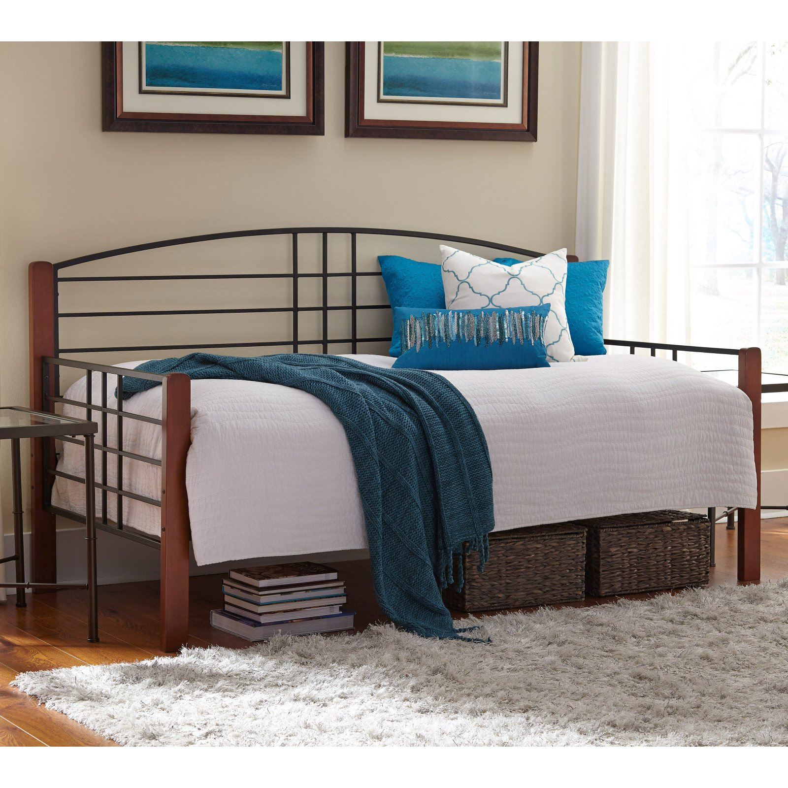 Dayton Complete Metal Day Bed with Arched Back Panel and Link Spring, Black Grain Finish, Twin by Fashion Bed Group
