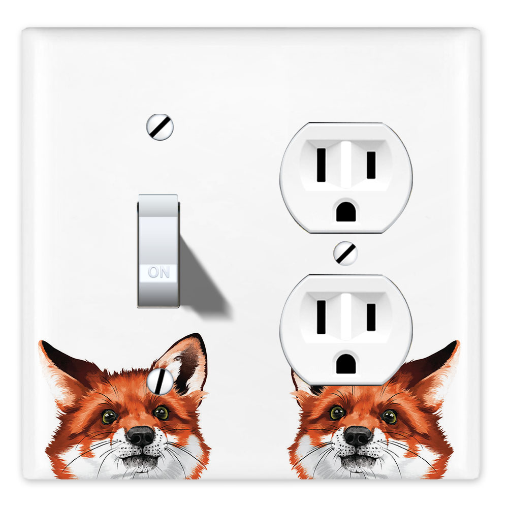 Wirester Double 1 Gang Toggle Light And 1 Gang Duplex Outlet Switch Plate Wall Plate Cover Animal Red Fox Walmart Com Walmart Com